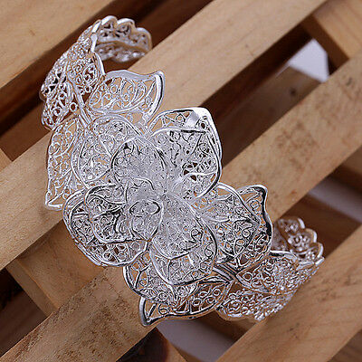Wholesale Sterling Solid Silver Flower Bracelet&Bangle Free Shipping DAB164+box