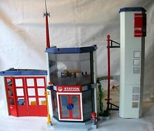 Playmobil Fire Station & Police Helicopter Incomplete set. Lots of pieces