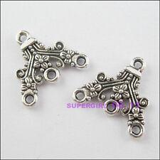 6Pcs Tibetan Silver Tone 1-3 Hole Flower Charms Pendants Connectors 16.5x18mm