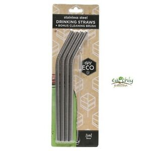 ever-ECO-Stainless-Steel-Drinking-Straws-Bent-plus-Brush-easy-to-clean-reusable