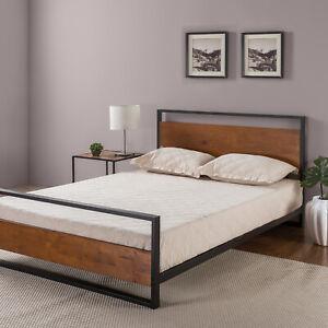Zinus Suzanne Platform Bed Headboard Metal Wood Slat