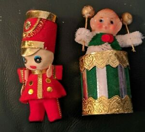 Lot-of-2-Vintage-Christmas-Ornaments-Drummers