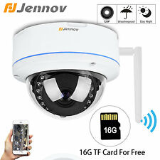 720P HD Wireless 1.0MP WiFi Onvif Outdoor Dome Security IP Camera 16G SD TF Card