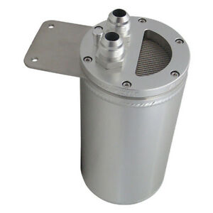 Details about Universal LS3 LS2 Oil Catch Can w/ Filter w/ Breather w/  Dipstick 2-Port SILVER