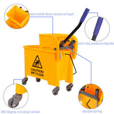 20L Commercial Mop Bucket w// Side Press Wringer Combo Rolling Cleaning Cart