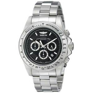 18390 Invicta 45mm Speedway Quartz Chronograph Black Dial Stainless Steel Watch