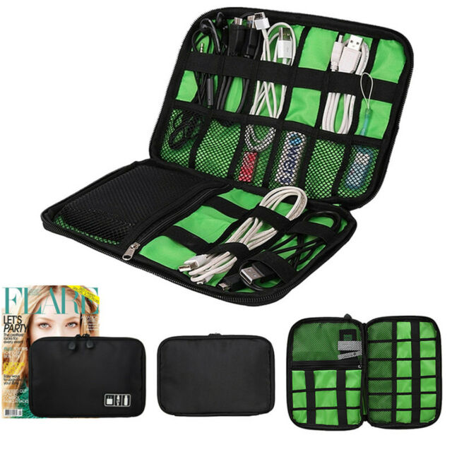 Storage Organizer Bag Case Digital USB Cable Earphone Pen Travel Insert Portable