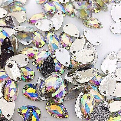 50 Stück X Zum Aufnähen 7x12 MM Acryl Strasssteine Klar Ab Farbe Träne Form