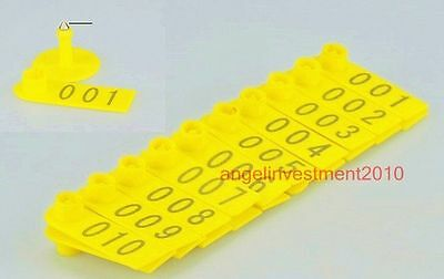 100sets New Yellow Sheep Goat Ear Tag  and 1 pc  Ear Tag Plier