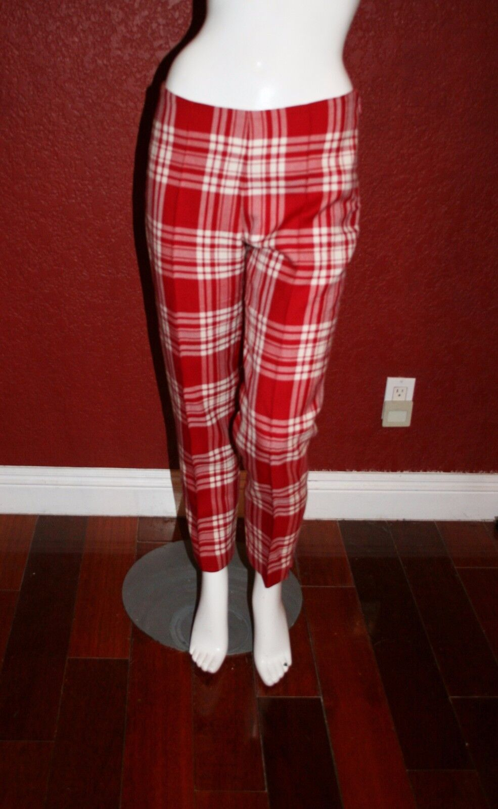 ANTHONY SYMONDS ANKLE  PANTS  RED WHITE PLAIDS  WOOL IT 42, FR 38 USA 6