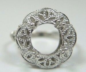 Antique-Art-Deco-Vintage-Setting-Mounting-Platinum-Hold-7-5-9MM-Rg-Sz-6-UK-L1-2
