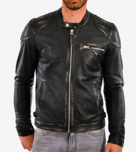Leather Cafe Motorcycle Slim Real Jacket Mens Distressed Biker Fit Racer Black I6zw1Y