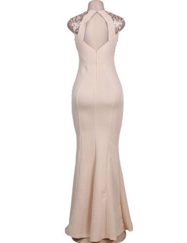 NEW WOMENS LUXURY SEQUIN ELEGANT EVENING LONG MAXI DRESS SIZE S,M UK
