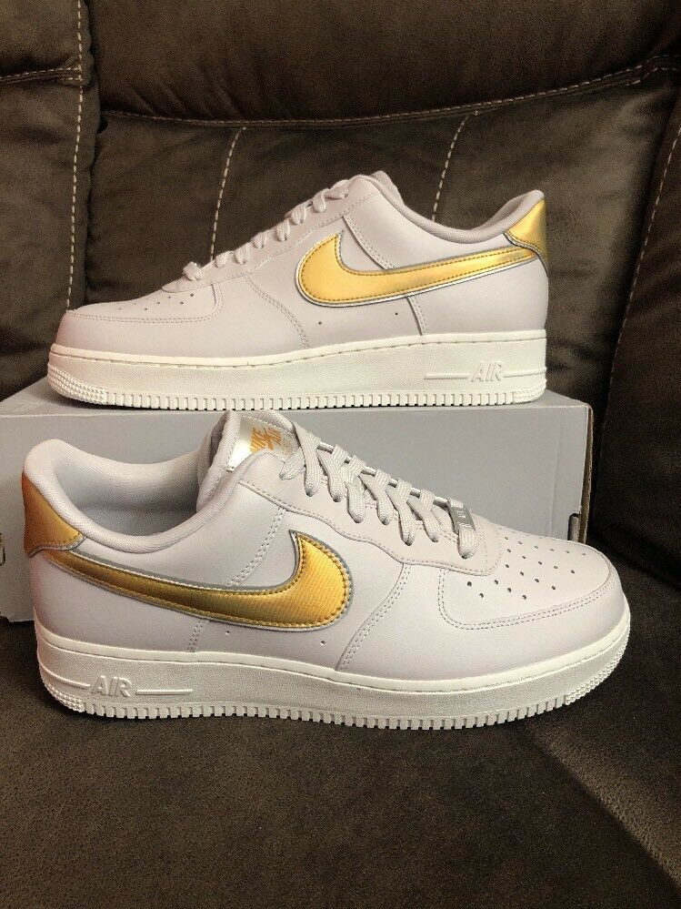Nike Wmns Air Force 1 07 MTLC AF1 Grey gold Women's  Sneaker AR0642-001 Sz 7