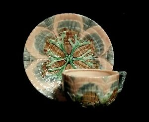 Majolica-Seaweed-amp-Shell-Cup-amp-Saucer-Set-Reproduced-For-Horchow