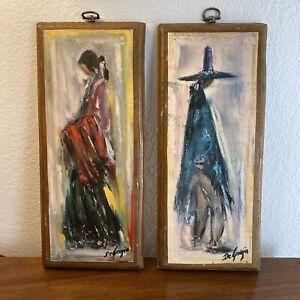 Vintage-Degrazia-Wood-Plaques-Set-Handmade-Decoupage-Wall-Hanging-Rustic-Art