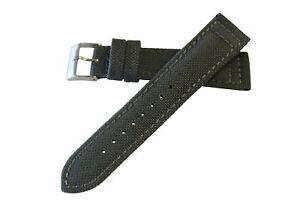 20mm-Herren-Grau-Original-Cordura-Canvas-Watch-Band-Strap-MS850-polierte-Schnalle