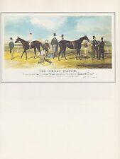 "1974 Vintage HORSE RACING ""FLYING DUTCHMAN vs. VOLTIGEUR"" COLOR Art Lithograph"