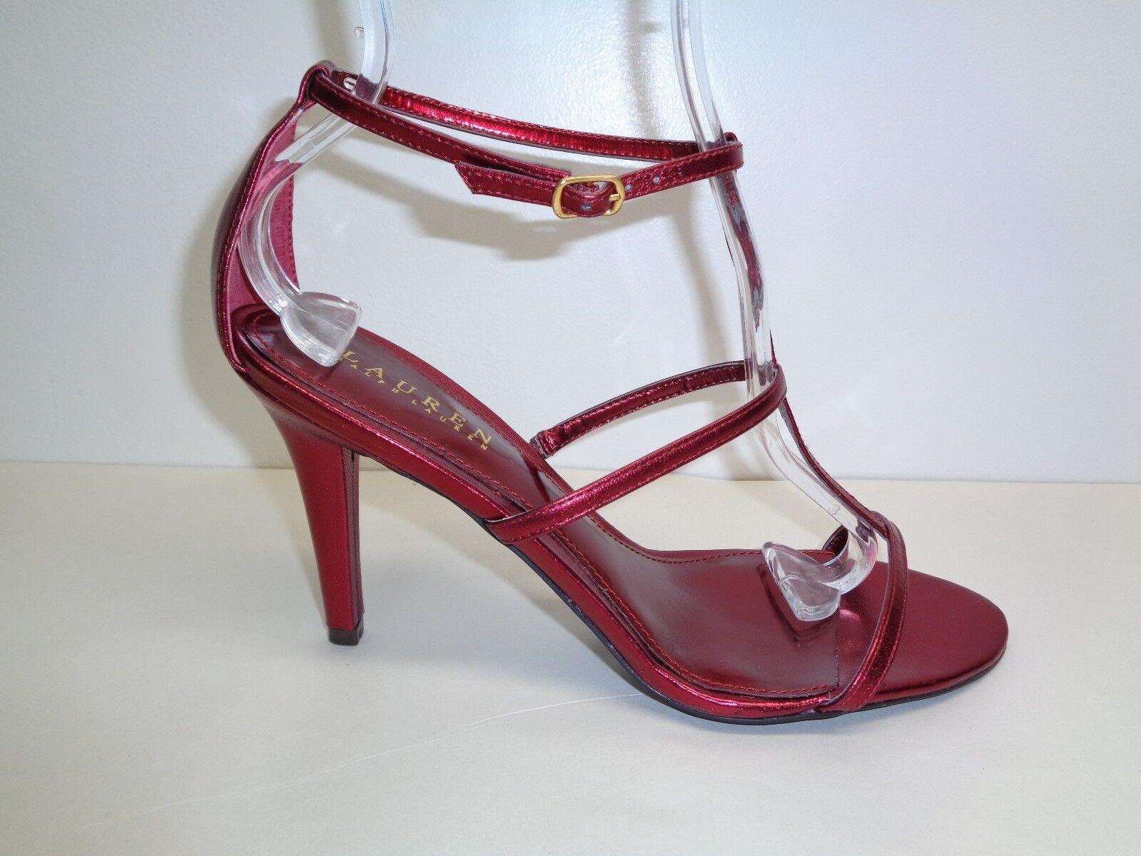 Ralph Lauren Größe 8.5 M AIDA II Holiday ROT Leder Sandales NEU Damenschuhe Schuhes