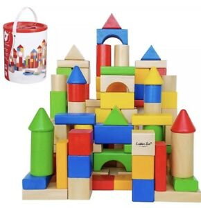 100PC-WOODEN-BUILDING-BLOCKS-KIDS-CHILDRENS-CONSTRUCTION-TOY-BRICKS-SET-WITH-TUB