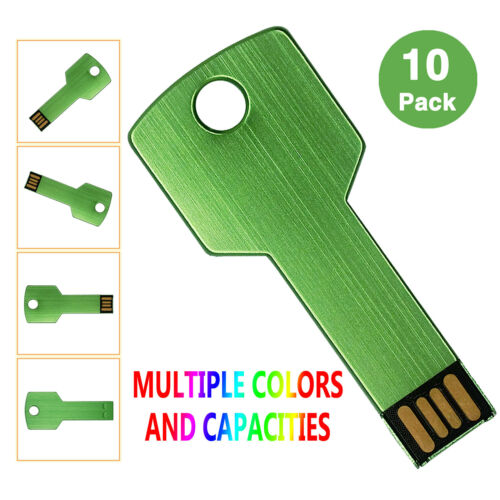 Kootion 8 Color 10 Pack 16GB 2.0 USB Flash Drives Metal Key Model Memory Storage