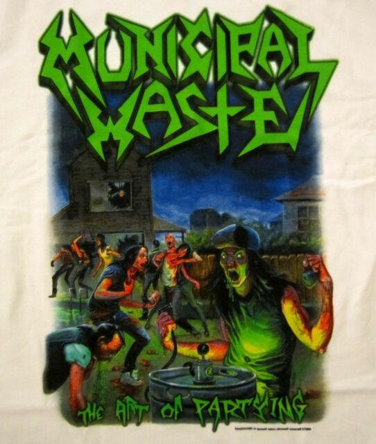 MUNICIPAL WASTE cd cvr THE ART OF PARTYING Official White SHIRT LRG new