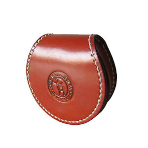 Tourbon Genuine Leather Coins Holder Purse Changes Pocket Box Case Wallet Brown