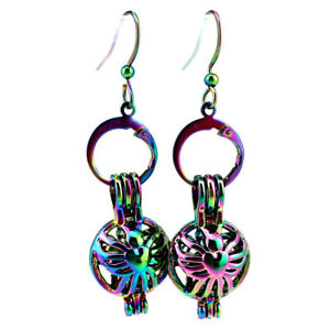 Rainbow-Color-Butterfly-Pearl-Cage-Earrings-Hooks-with-8mm-Plastic-Beads-Z532