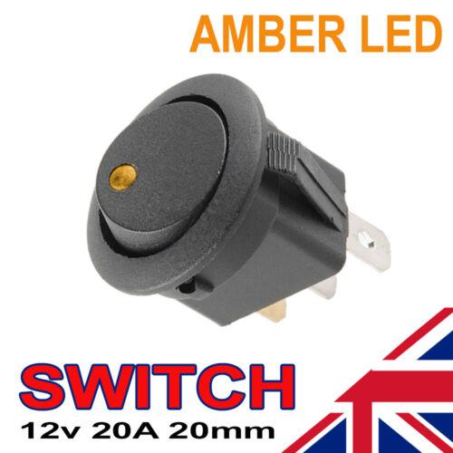 1 x amber led on//off rond noir rocker interrupteur automobile 20mm spst bateau