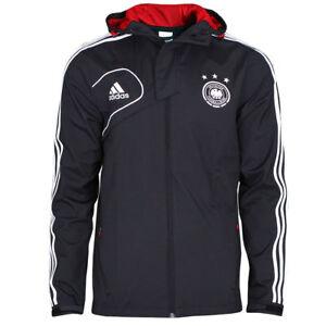 Details zu ADIDAS DFB Travel Jacke Reisejacke Deutschland Fußballjacke mit Kapuze schwarz