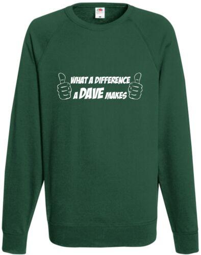 Quelle différence un Dave rend comédie Sweat-shirt Haut Drôle Cadeau Noël
