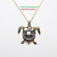 14k Solid Yellow Gold Hawaiian Honu Sea Turtle; Black Cultured Pearl Pendant 1""