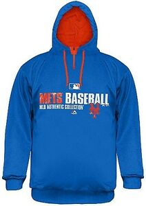 New York Mets Majestic 1/4 Zip AC Royal Blue Hoodie Mens Big And ...