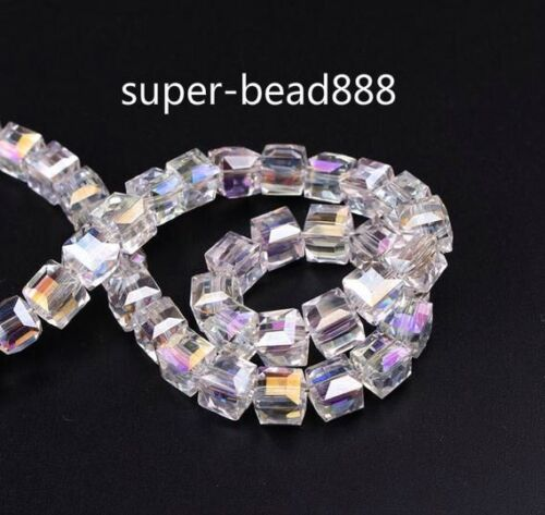 100pcs Faceted Suqare Crystal Glass Spacer Beads For Jewelry Making 4 6 8mm
