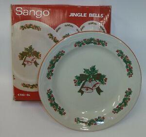 NOS-Sango-Stoneware-Dinnerware-Christmas-Jingle-Bells-4-Dessert-Plates-MIB