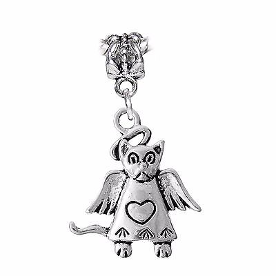 Silver Dog with Angel Wings Pet Memorial Remembrance European Dangle Bead Charm