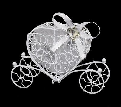 Fornitura 5 Carrosses Contenants à Dragées Original Coeurs Métal Déco Cadeaux Mariage