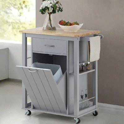 Rolling Kitchen Island Portable Microwave Stand Cart Wheels Pull Out  Garbage Bin   eBay