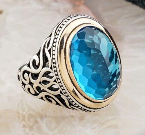 HEAVY Blue Turkish 925 Sterling Silver Aquamarine Stone Mens man ring ALL SİZE