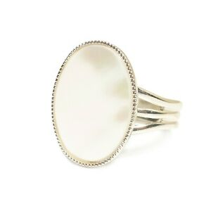 Mother-of-Pearl-Gemstone-Ring-Semi-Precious-Oval-Adjustable-18-x-13-mm-Silver