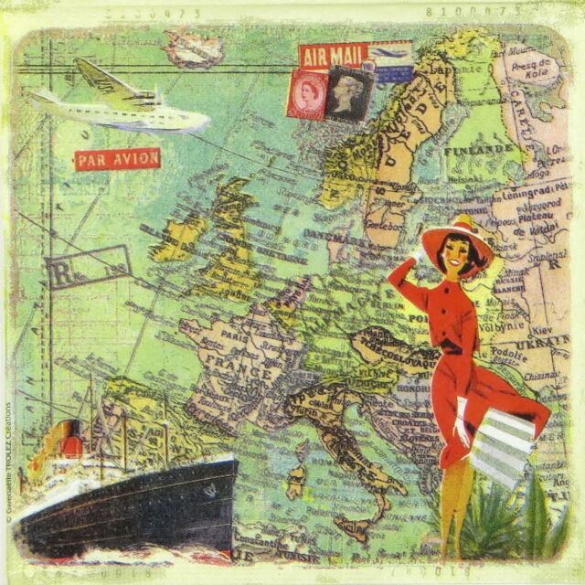 4x Single Table Party Paper Napkins for Decoupage Decopatch Travel to Europe