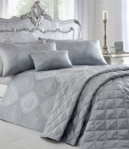 Luxury Jacquard Anise Metallic Silver Grey Duvet Quilt Cover Bedding Bed Set New