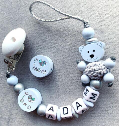Wunderschöne Schnullerkette Mit Namen In Pastellblau.I❤️mom/&Dad  Süsser Teddy