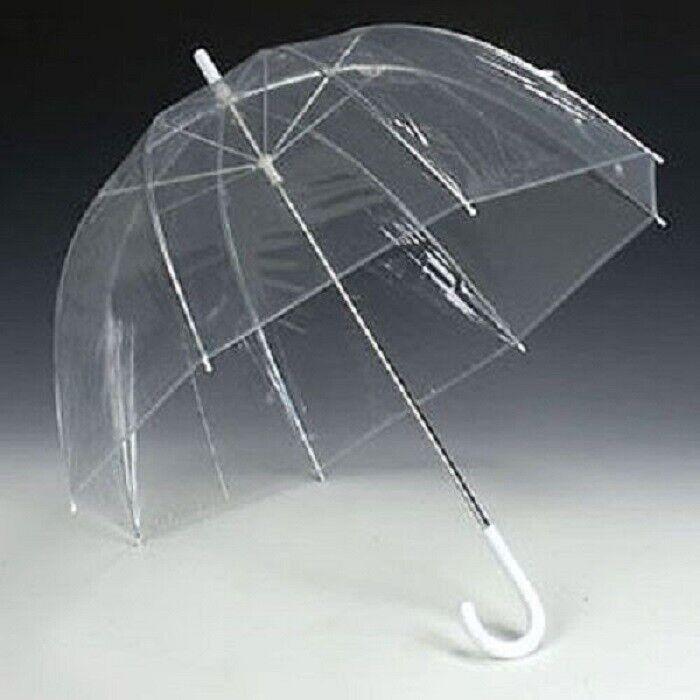 Contemplatif Grand Dôme Transparent Voir à Travers Parapluie Poignée Transparent Marche Brolly Femmes