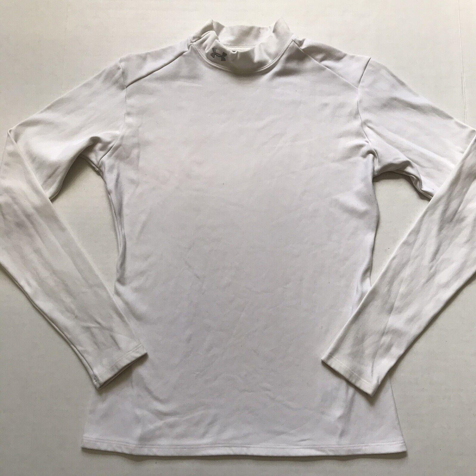 Under Armour Sz L White Coldgear Compression L/S Shirt Base Layer Mock Neck