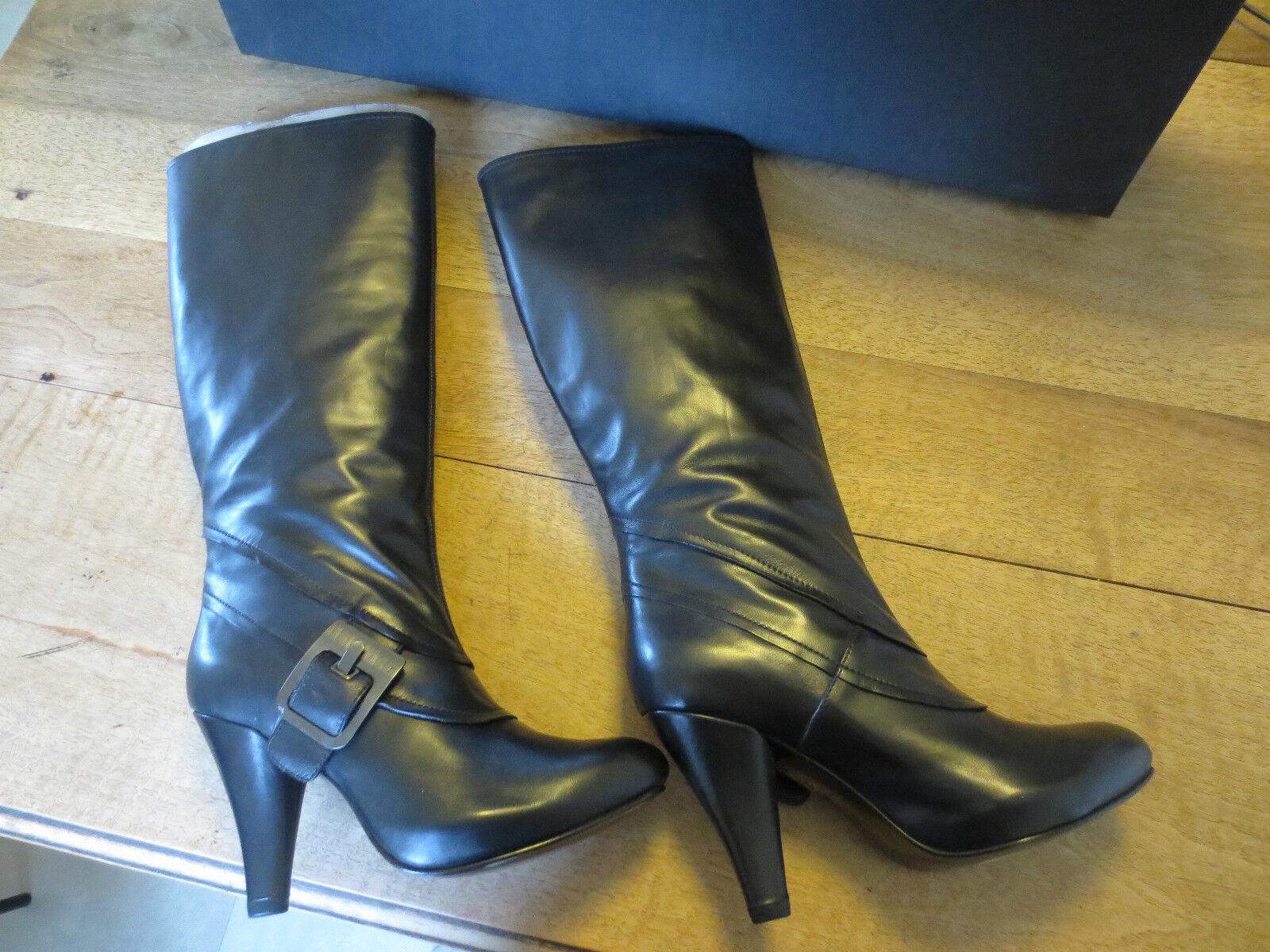 Mittelhoch Plattform Stiefel Stiefel Stiefel BARACHINI Kalb schwarz Absatz 9cm a01c77