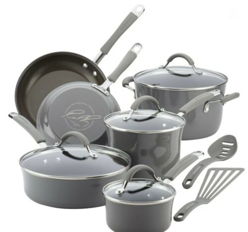 Sea Salt Gray *Brand New* Rachael Ray Cucina 12 Piece Nonstick Cookware Set