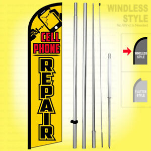 Cell Phone Repair 15/' Tall Swooper Flag /& Pole Kit Feather Super Banner