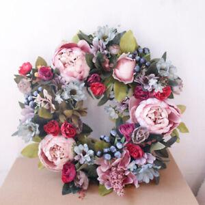35cm Artificial Rose-Flower Wreath Door Hanging Peony Garland Wedding//Home Decor