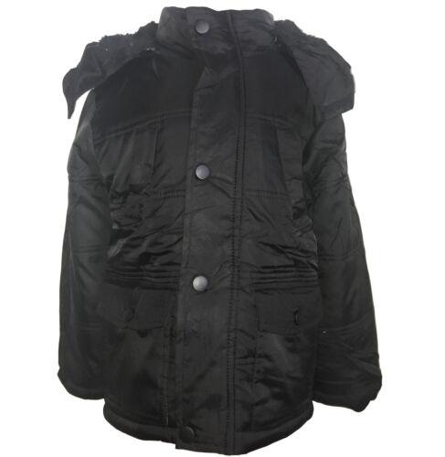 New Winter WARM Boys Jacket Detachable Hood Padded Coat Puffa Anorak 3-14 y #133